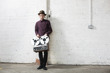 David Lyttle, musician, producer & songwriter, with his reel to reel Revox tape recorder